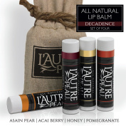 All Natural Luxury Lip Balm by L'AUTRE PEAU | Acai Berry, Asian Pear, Honey & Pomegranate Flavours - Special 4 Pack Gift Set | Moisturiser (Natural Beeswax) | The Decadence Lip Balm Gift Set