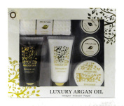 Luxury Argon Oil Bath Spa Set Gift Set. Shower Gel, Body Lotion, Scrub, 2 Bath Fizzers, 1 Waffle Face Towel