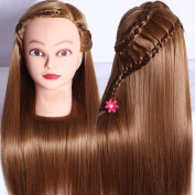 SR 70cm Synthetic Long Human Hair Hairdressing Cosmetology Mannequin Manikin Training Head with Clamp