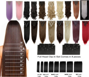 17-70cm Straight Curly Wavy Full Head 8 Piece 18 Clip in on Hair Extensions