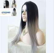 ATOZWIG@Most Popular Cheap Ombre Wig Womens Lady's Long Stright Wigs Two Tone Black to Grey Synthetic Hair Wigs Soft Degree