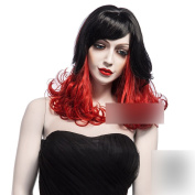 Coolsky 50cm Soft Wig Long Curl Wig Black and Red Nature Beauty Wig Women Wig