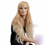 80cm Long Wavy Curly Golden Root With Light Blonde Highlights Synthetic Hair Lady Wigs with Oblique Bangs for Women