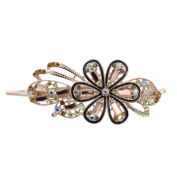 Totoroforet Forget Me Not Forever Crystal Glass & Rhinestones Hairclip/ Barrette/ Hair Claw Large Size--Champagne