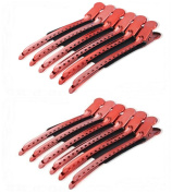 Akak Store 12 Pcs/Pack Professional Hairdressing Salon Hair Styling Stainless Steel Hairdressing Duck Bill Alligator Clips Fashion Styling Tools(Red)