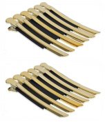 Akak Store 12 Pcs/Pack Professional Hairdressing Salon Hair Styling Stainless Steel Hairdressing Duck Bill Alligator Clips Fashion Styling Tools(Gold)