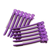 Akak Store 12 Pcs/Pack Professional Hairdressing Salon Hair Styling Stainless Steel Hairdressing Duck Bill Alligator Clips Fashion Styling Tools(Purple)