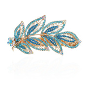 Leaves Shape Hair Barrettes Inlaid Rhinestones Hair Clips Women Hair Pins