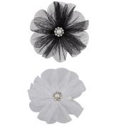 Lux Accessories Chiffon Flower Hair Clips