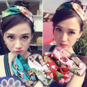 YallFF 4pcs Women's Girls New Chic Design Bohemia Flower Printing Cross Hair Band Ribbon Headbands