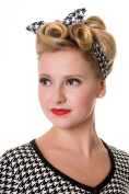 Retro 60's Pinup plaid and houndstooth Pattern Elastic Campus Headband