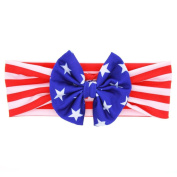 FEITONG Baby American Flag Pattern Cross Elastic Cloth Headband