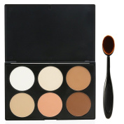 EVERMARKET Makeup Contour Kit Highlight and Bronzing Powder Palette - 6 Colours with Premium Oval Make Up Brush