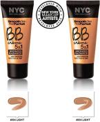 NYC New York Colour BB Creme Foundation Bronze Light #004 LIGHT (30ml) EACH (SET OF 2) PLUS A FREE LIP BALM BY MUA