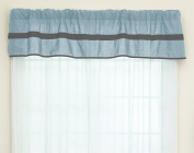 Baby Doll Solid Stripe Window Valance, Light Blue/Grey