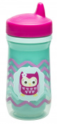 Zak Designs Toddlerific Perfect Flo Spout Toddler Cup with Green Owl, Double Wall Insulated Construction and Adjustable Flow Technology, Break-resistant and BPA-free Plastic, 260ml
