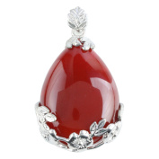 Inlaid Teardrop Gemstone Floral Flower Stone Pendant For Necklace