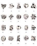 20pcs Mixed Charms Beads Antique Silver Tone Fits Pandora Biagi Troll Chamilla Other European Charm Bracelet #MEC1-20
