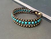 Handmade Bracelet Triple Layer Turquoise Brass Bracelet