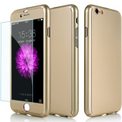 iPhone SE Case--Inspirationc® Full Body Coverage Protection Case with Tempered Glass Screen Protector for iPhone SE/5S/5--Gold