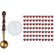 WinnerEco 1 Set Heart Shape Sealing Wax Beads Candle Pack Mini Melting Spoon Wine Red