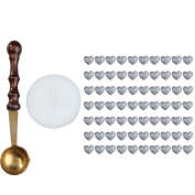 WinnerEco 1 Set Heart Shape Sealing Wax Bead with Mini Spoon Candle Pack Silver