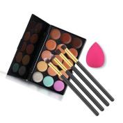 Toraway Pro 15 Colours Contour Concealer Palette + 4pcs Powder Brushes +Sponge Blender