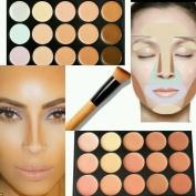 Neverland Beauty 15 Colours Cream Concealer/Highlight/Face Contour Palette + Oblique Head Foundation/Concealer Brush