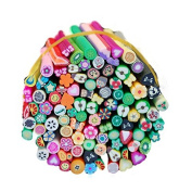 Warm Girl 100 Pcs/Set 3D Nail Art Fimo Canes Stick Rods Polymer Clay Stickers Decora Beauty
