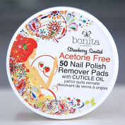 Acetone Free 50 Nail Polish Remover Pads with Cuticle Oil, Strawberry Scented, Bonita Cosmetics