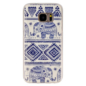 BLT Soft TPU Cute Elephant Pattern Crystal Rubber Flexible Slim Case for Samsung Galaxy S7 with a Screen Protector