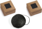 Activated Bamboo Charcoal Black Handmade Soap And Natural Konjac Sponge Set - Light Fresh Scent Facial Cleansing Treatment Acne Prone And Sensitive Skin