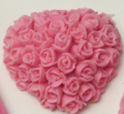 Valentines Day Pink Heart with Rose Buds Soap3 Bars Fresh Linen Scent
