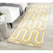 Safavieh Cambridge Collection CAM351Q Handmade Gold and Grey Wool Runner, 0.6mes by 2.4m