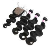 "Eayon Hair® 7a Virgin Brazilian Hair Body Wave 3Bundles With 1pc Slik Base Closure(4*4) 100% Human Hair Extensions Natural Colour Size 16""18""20"" Weft+14"" Silk Base Closure"