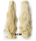 SWACC Straight/Curly Claw Clip Ponytail Extension Synthetic Clip in Ponytail Hairpiece Jaw Clip Hair Extension