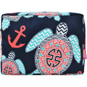 Sea Turtle Anchor Print Large Cosmetic Travel Pouch