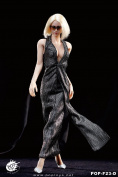 1/6 F23 POPTOYS / Famle Action Figure Dress / Monroe Evening Dress Silvery