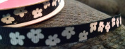 Black and White Flowers Grosgrain Ribbon - 3 Yards