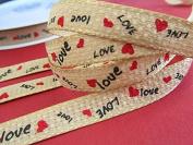 "25 yards Valentine ""Love"" & Heart 1cm Ribbon (R148) US SELLER SHIP FAST"