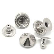 Souarts Metal Nickle Cone Cap Rapid Rivets Studs for Leather Craft Handbag Bag Clothes Shoes Clothes Pack of 100pcs