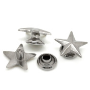 Souarts Silver Tone Colour Five Pointed Star Silver Metal Rivet Nail Art Decoration Pack of 100pcs