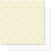 American Crafts 332594 25 Sheet Gold Paper Clips/Penmanship Seven Paper Darcy Double-Sided Cardstock No.12, 30cm by 30cm , Multicolor