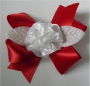 Red / White Ribbon Fluff Rose Corsage