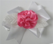 White / Pink Ribbon Fluff Rose Corsage