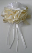 Ivory / White Ribbon Rose Corsage