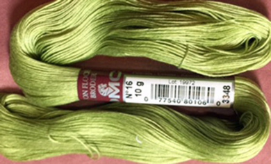 FLOCHE-DMC COTON FLOCHE A BRODER-colour -3348-MEDIUM OLIVE GREEN--YOU WILL RECEIVE 2 SKEINS THAT TOTAL A FULL 10 GM HANK