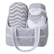 Trend Lab 7 Piece Bib & Burp Feeding Basket Gift Set, Safari Grey