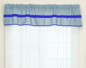 Baby Doll Solid Stripe Window Valance, Light Blue/Royal Blue