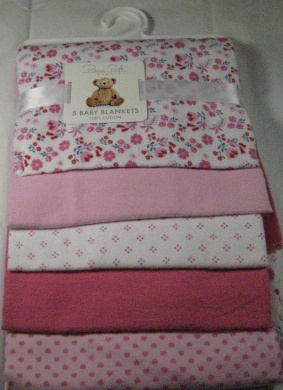 Rene Rolfe 5 Pk.Soft Flannel Baby Girls Receiving Blankets 100% Cotton Pink